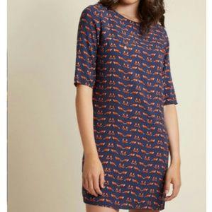 NWT Modcloth Pull Out All the Fox Shift Dress